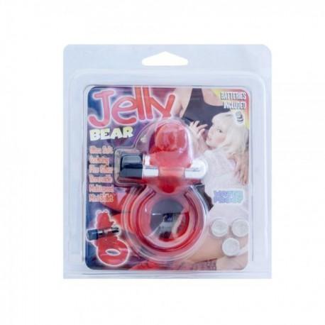 Pierścień na penisa Jelly Bear czerwony