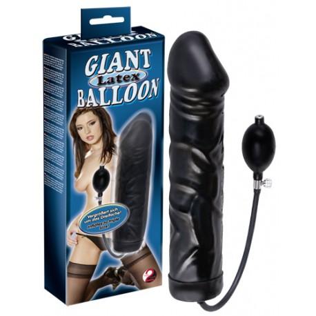 Dildo lateksowe pompowane Black Giant Latex Balloon 31,5 cm