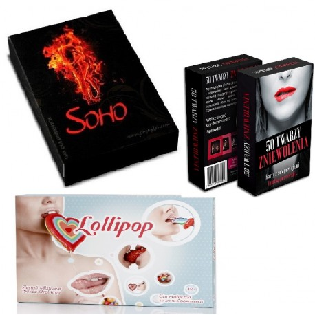 Zestaw 3 gry SOHO + LOLLIPOP +50 TWARZY ZNIEWOLENIA
